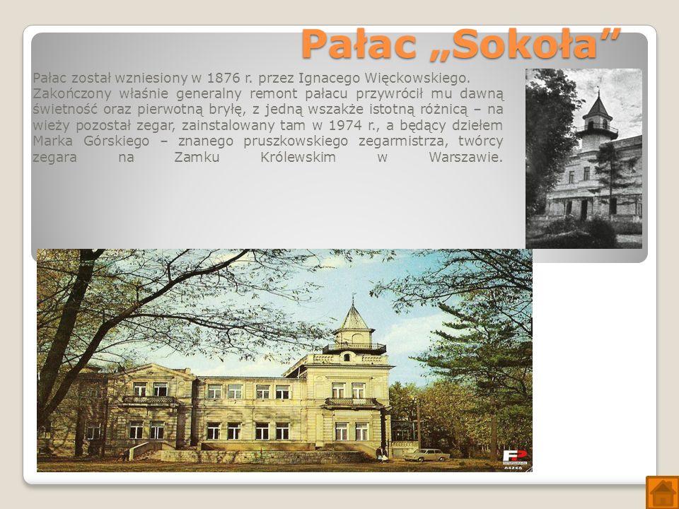 """Pałac """"Sokoła Pałac został wzniesiony w 1876 r. przez Ignacego Więckowskiego."""