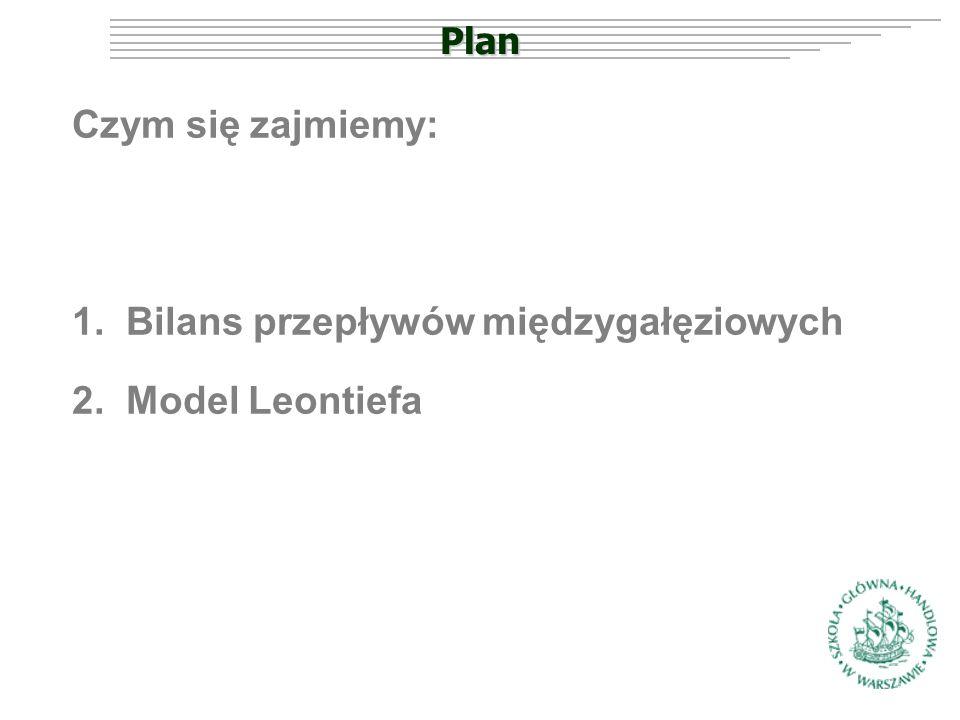 Plan Czym się zajmiemy: 1.Bilans przepływów międzygałęziowych 2.Model Leontiefa