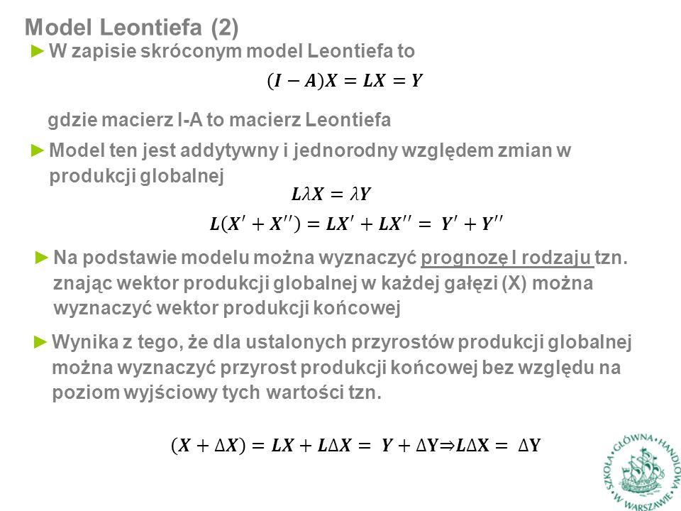 Model Leontiefa (2) ►W zapisie skróconym model Leontiefa to gdzie macierz I-A to macierz Leontiefa ►Model ten jest addytywny i jednorodny względem zmian w produkcji globalnej ►Na podstawie modelu można wyznaczyć prognozę I rodzaju tzn.