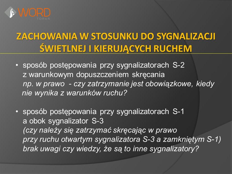 ZACHOWANIA W STOSUNKU DO SYGNALIZACJI ŚWIETLNEJ I KIERUJĄCYCH RUCHEM sposób postępowania przy sygnalizatorach S-2 z warunkowym dopuszczeniem skręcania