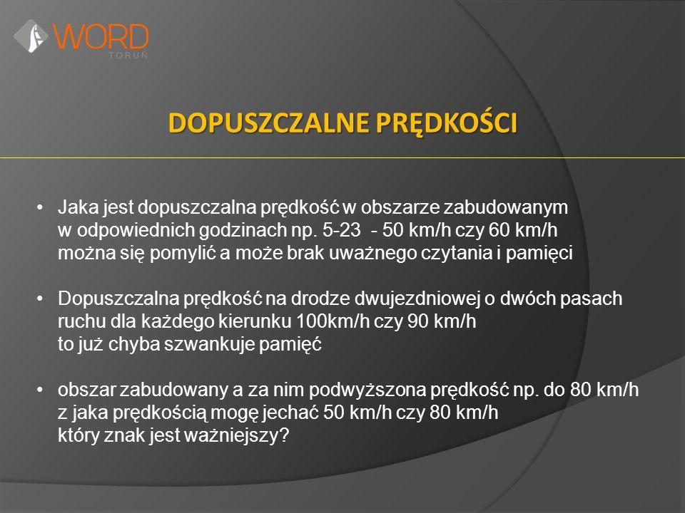 DOPUSZCZALNE PRĘDKOŚCI Jaka jest dopuszczalna prędkość w obszarze zabudowanym w odpowiednich godzinach np. 5-23 - 50 km/h czy 60 km/h można się pomyli