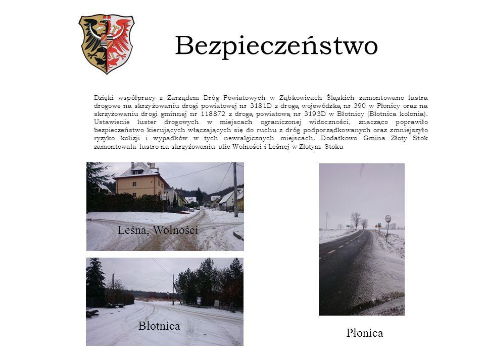 Bezpieczeństwo Dzięki współpracy z Zarządem Dróg Powiatowych w Ząbkowicach Śląskich zamontowano lustra drogowe na skrzyżowaniu drogi powiatowej nr 3181D z drogą wojewódzką nr 390 w Płonicy oraz na skrzyżowaniu drogi gminnej nr 118872 z drogą powiatową nr 3193D w Błotnicy (Błotnica kolonia).