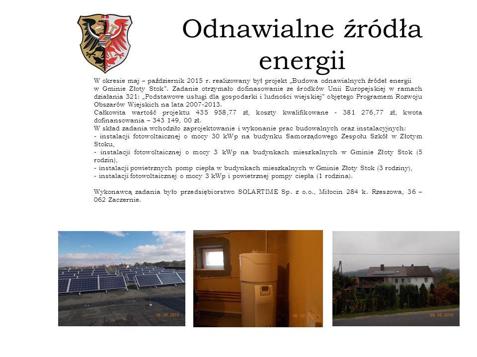 Odnawialne źródła energii W okresie maj – październik 2015 r.