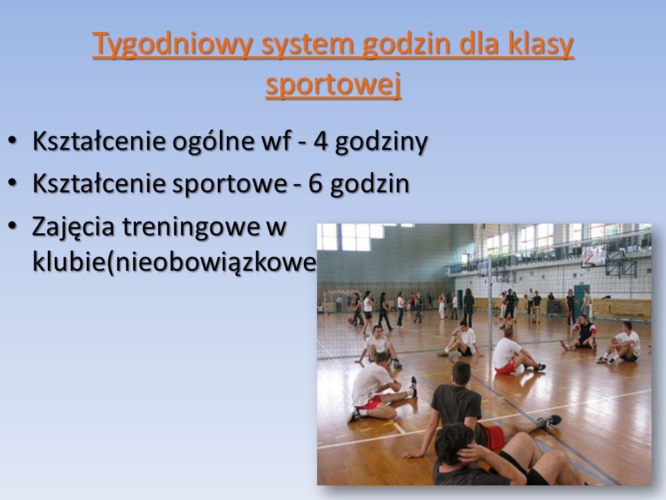 Tygodniowy system godzin dla klasy sportowej Kształcenie ogólne wf - 4 godziny Kształcenie ogólne wf - 4 godziny Kształcenie sportowe - 6 godzin Kształcenie sportowe - 6 godzin Zajęcia treningowe w klubie(nieobowiązkowe) Zajęcia treningowe w klubie(nieobowiązkowe)