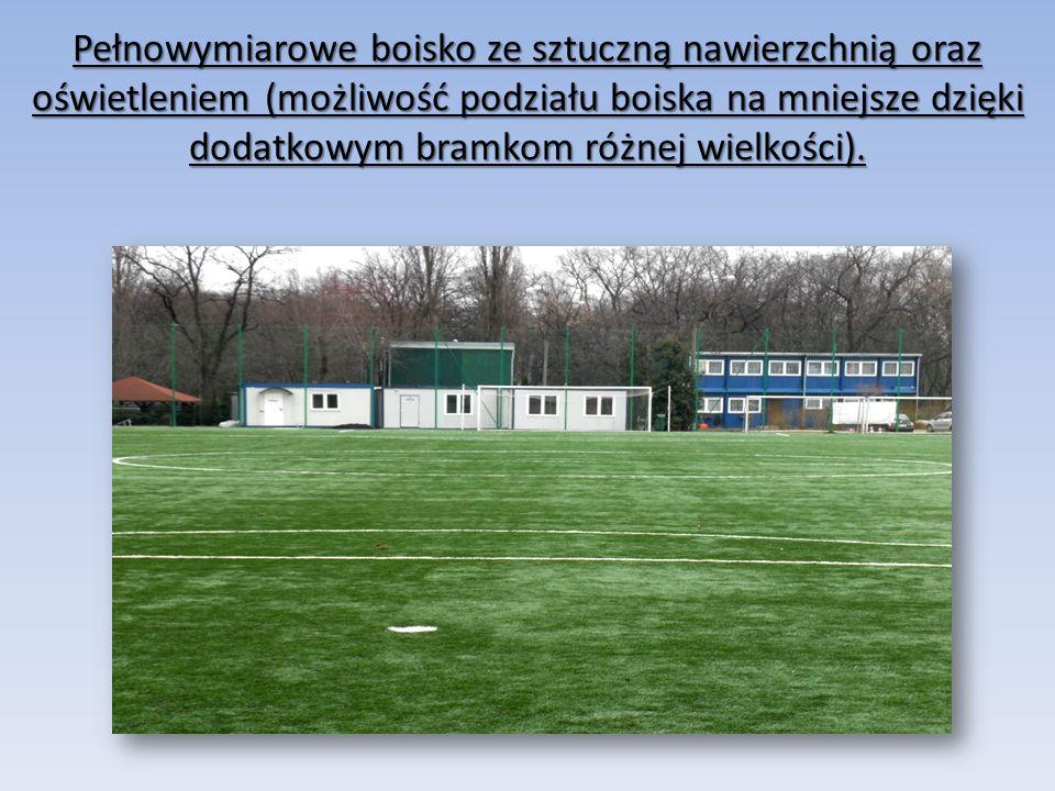 Pełnowymiarowe boisko ze sztuczną nawierzchnią oraz oświetleniem (możliwość podziału boiska na mniejsze dzięki dodatkowym bramkom różnej wielkości).