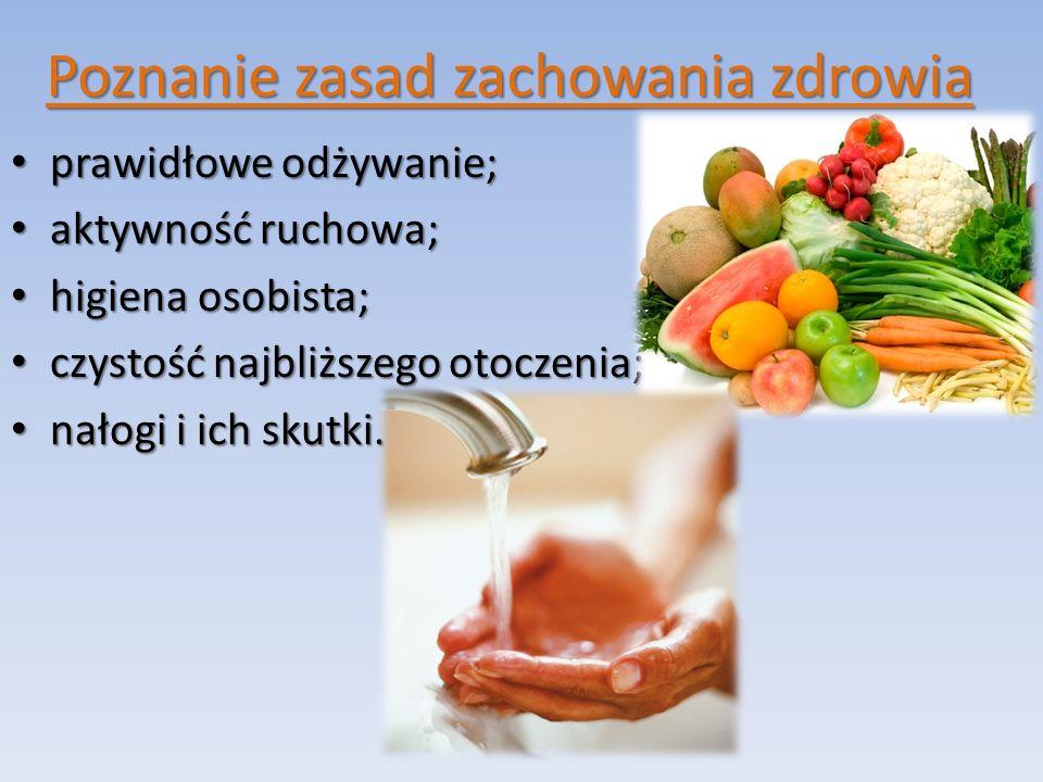 Poznanie zasad zachowania zdrowia prawidłowe odżywanie; prawidłowe odżywanie; aktywność ruchowa; aktywność ruchowa; higiena osobista; higiena osobista; czystość najbliższego otoczenia; czystość najbliższego otoczenia; nałogi i ich skutki.