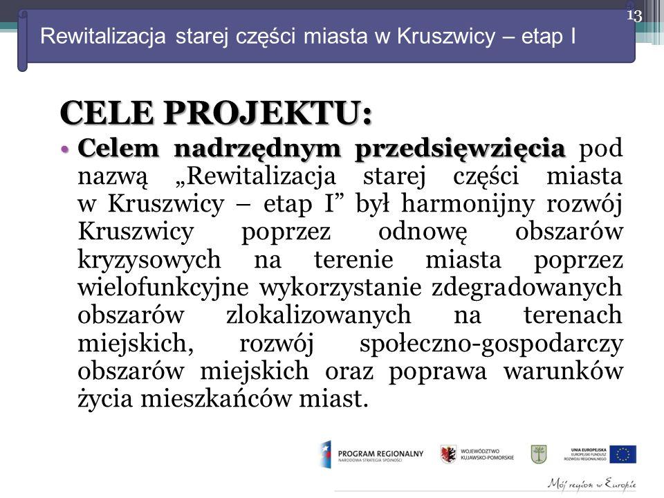 """Rewitalizacja starej części miasta w Kruszwicy – etap I CELE PROJEKTU: Celem nadrzędnym przedsięwzięcia pod nazwą """"Rewitalizacja starej części miasta w Kruszwicy – etap I był harmonijny rozwój Kruszwicy poprzez odnowę obszarów kryzysowych na terenie miasta poprzez wielofunkcyjne wykorzystanie zdegradowanych obszarów zlokalizowanych na terenach miejskich, rozwój społeczno-gospodarczy obszarów miejskich oraz poprawa warunków życia mieszkańców miast."""