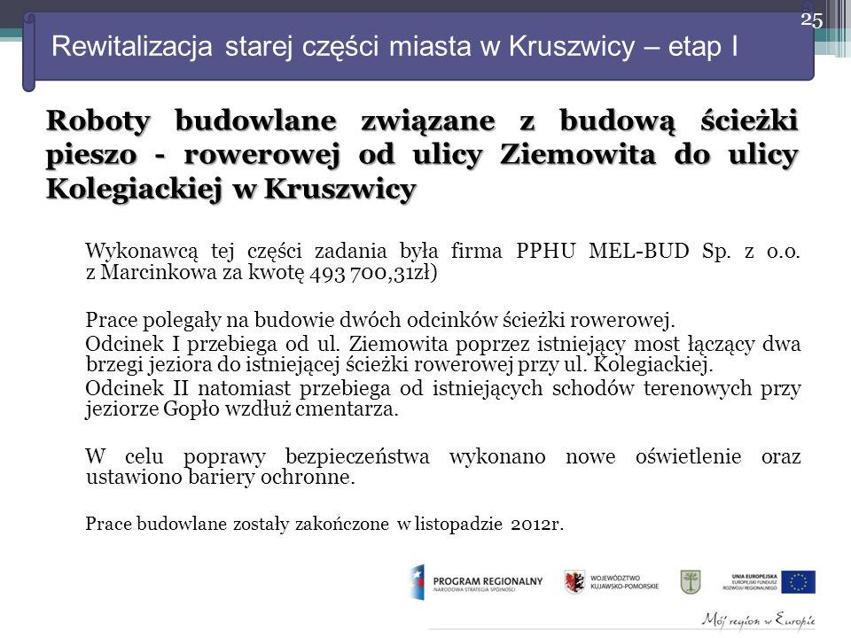 Rewitalizacja starej części miasta w Kruszwicy – etap I Wykonawcą tej części zadania była firma PPHU MEL-BUD Sp.