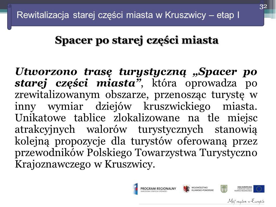 """Rewitalizacja starej części miasta w Kruszwicy – etap I Utworzono trasę turystyczną """"Spacer po starej części miasta , która oprowadza po zrewitalizowanym obszarze, przenosząc turystę w inny wymiar dziejów kruszwickiego miasta."""