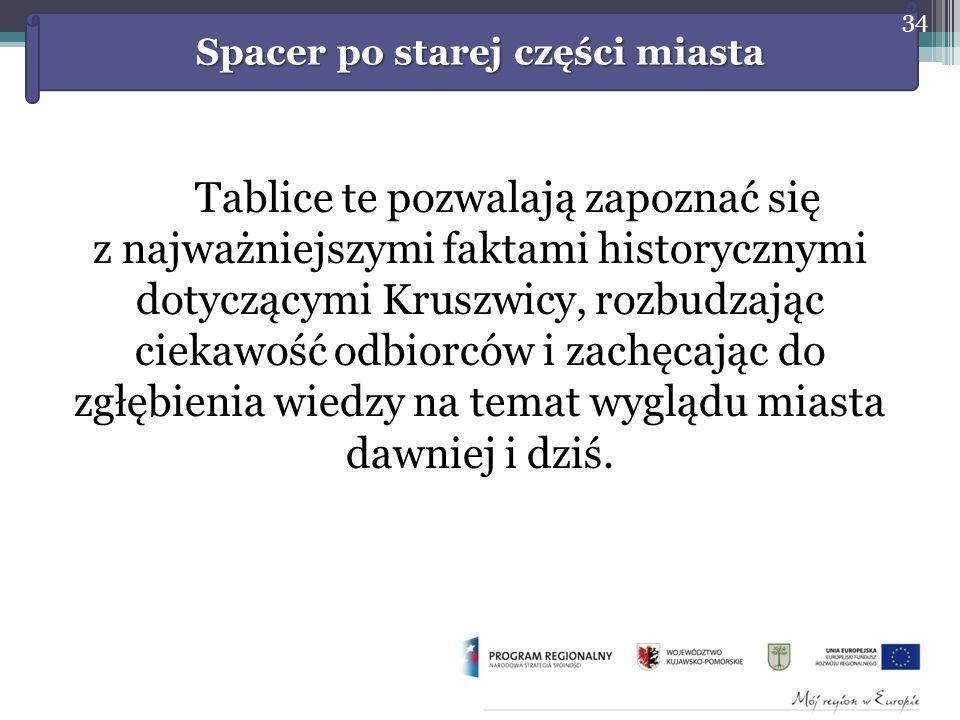 Tablice te pozwalają zapoznać się z najważniejszymi faktami historycznymi dotyczącymi Kruszwicy, rozbudzając ciekawość odbiorców i zachęcając do zgłębienia wiedzy na temat wyglądu miasta dawniej i dziś.