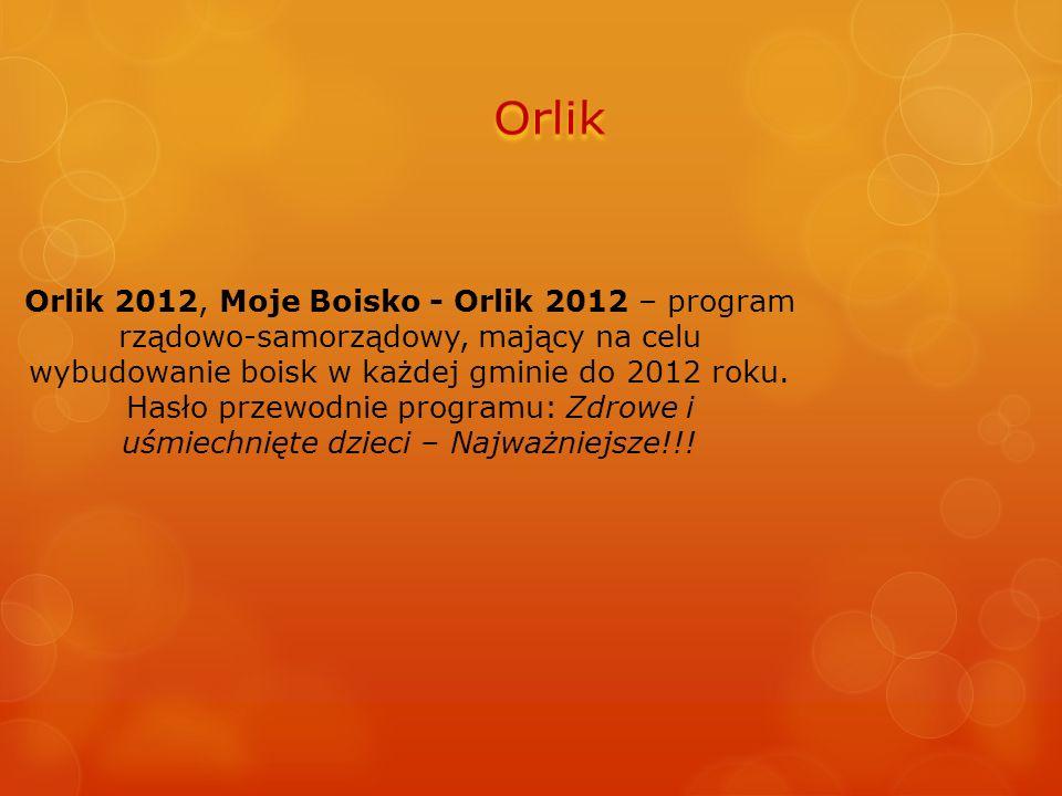 Orlik 2012, Moje Boisko - Orlik 2012 – program rządowo-samorządowy, mający na celu wybudowanie boisk w każdej gminie do 2012 roku. Hasło przewodnie pr