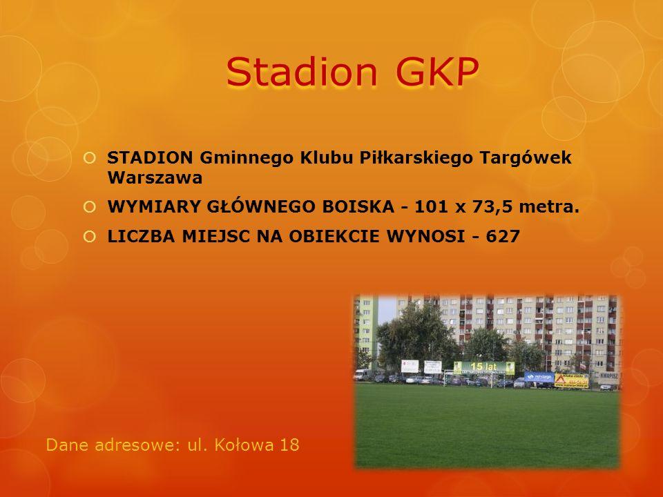 STADION Gminnego Klubu Piłkarskiego Targówek Warszawa  WYMIARY GŁÓWNEGO BOISKA - 101 x 73,5 metra.  LICZBA MIEJSC NA OBIEKCIE WYNOSI - 627 Dane ad