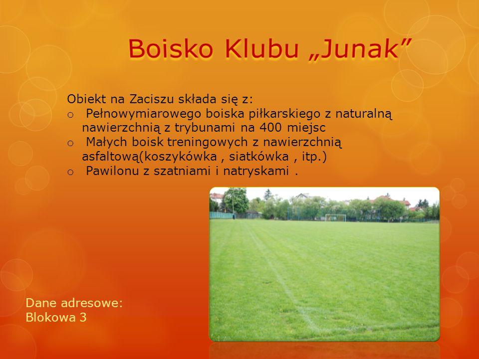 Obiekt na Zaciszu składa się z: o Pełnowymiarowego boiska piłkarskiego z naturalną nawierzchnią z trybunami na 400 miejsc o Małych boisk treningowych