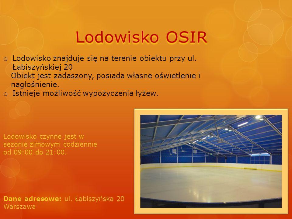 o Lodowisko znajduje się na terenie obiektu przy ul. Łabiszyńskiej 20 Obiekt jest zadaszony, posiada własne oświetlenie i nagłośnienie. o Istnieje moż