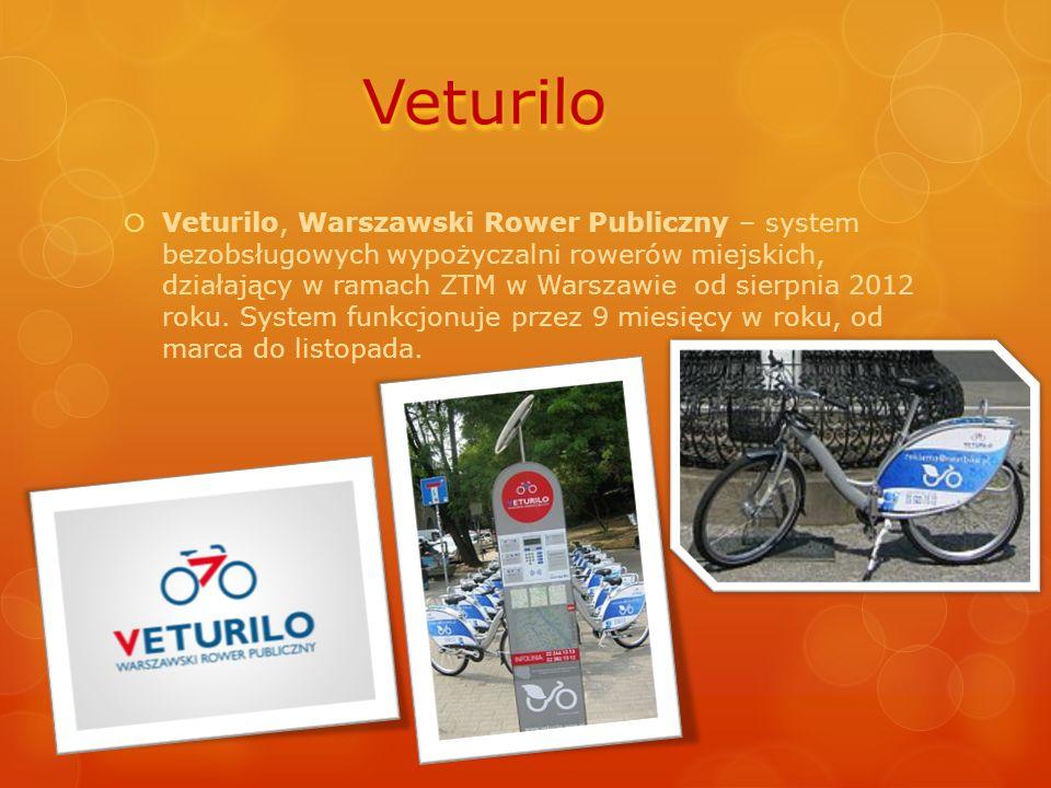  Veturilo, Warszawski Rower Publiczny – system bezobsługowych wypożyczalni rowerów miejskich, działający w ramach ZTM w Warszawie od sierpnia 2012 ro