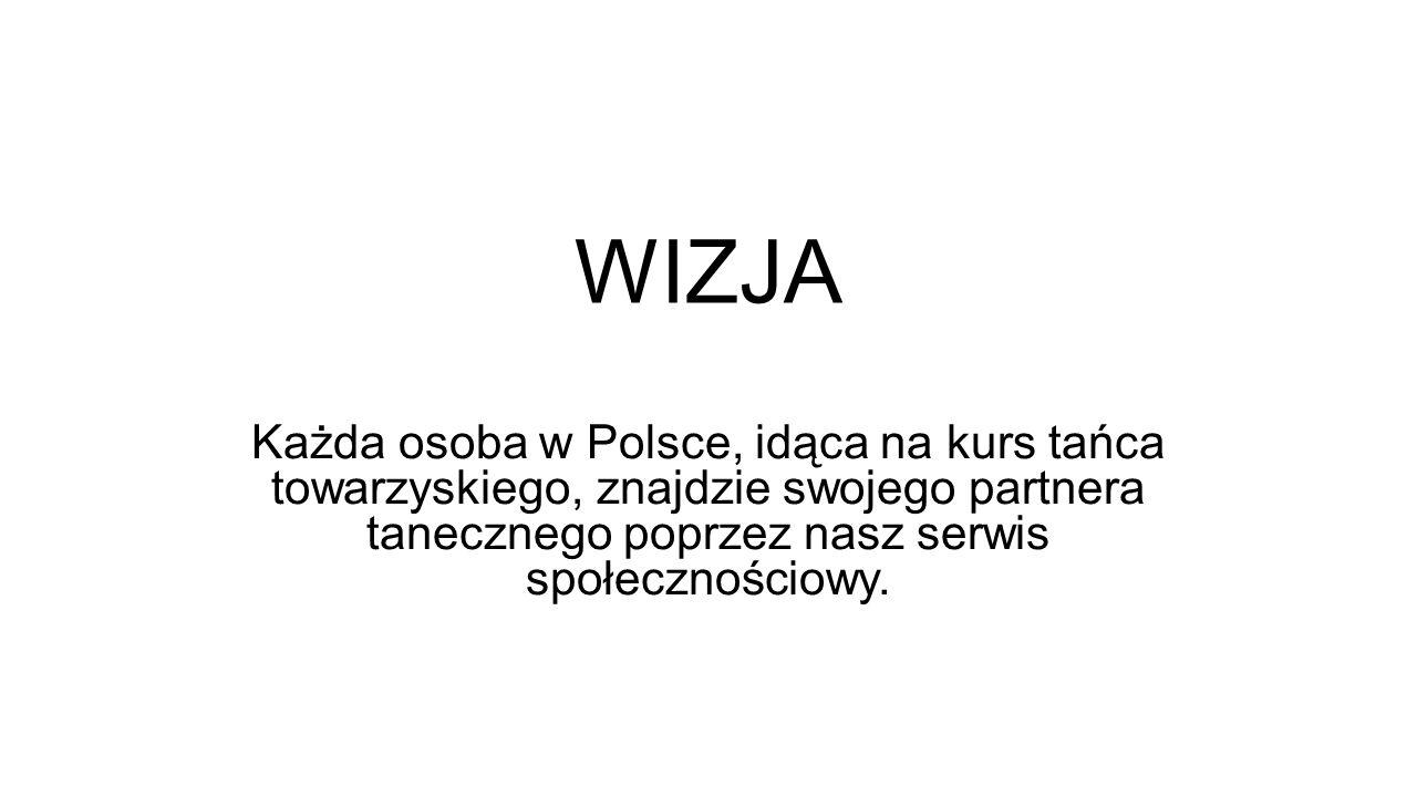 WIZJA Każda osoba w Polsce, idąca na kurs tańca towarzyskiego, znajdzie swojego partnera tanecznego poprzez nasz serwis społecznościowy.