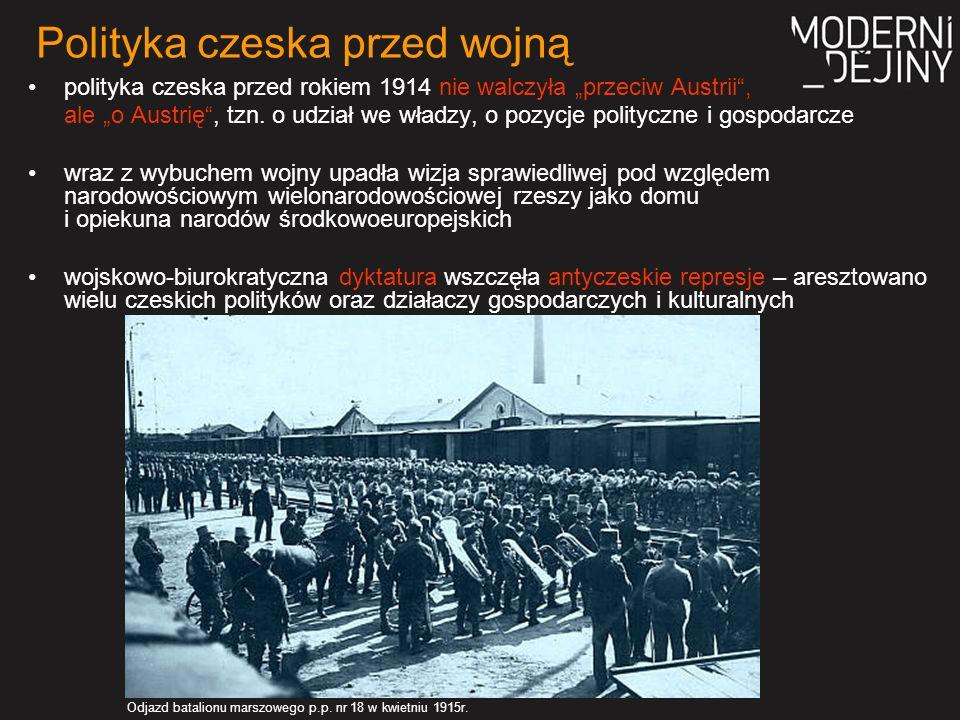 Jedynie plany dwóch posłów liczyły się z rozpadem Austro-Węgier: 1) Karel Kramář opracował tajny projekt Rzeszy Słowiańskiej na czele z carem, której częścią obok Rosji, Bułgarii i Serbii miało być też Królestwo Czeskie 2) Tomáš G.
