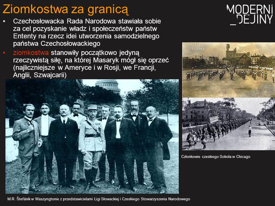 utworzenie wojska czechosłowackiego, które na frontach wojny światowej walczyłoby wprawdzie w szeregach armii Ententy, ale pod własnymi sztandarami w lutym 1915r.