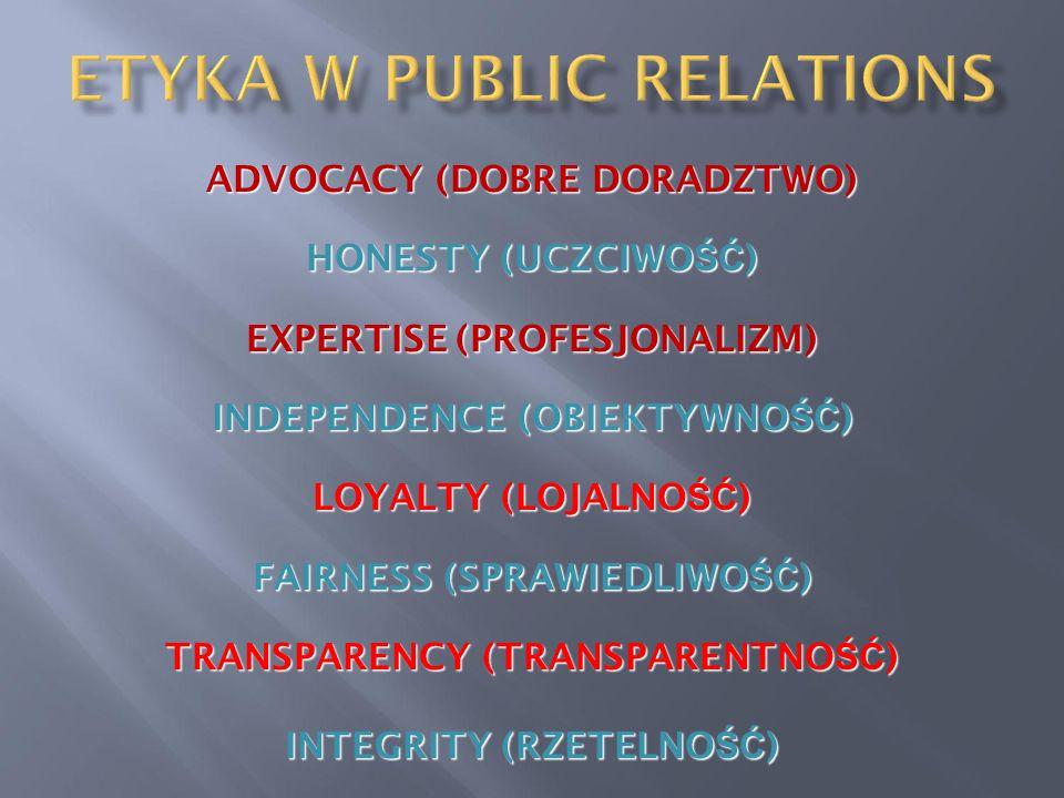 ADVOCACY (DOBRE DORADZTWO) HONESTY (UCZCIWO ŚĆ ) EXPERTISE (PROFESJONALIZM) INDEPENDENCE (OBIEKTYWNO ŚĆ ) LOYALTY (LOJALNO ŚĆ ) FAIRNESS (SPRAWIEDLIWO ŚĆ ) TRANSPARENCY (TRANSPARENTNO ŚĆ ) INTEGRITY (RZETELNO ŚĆ )