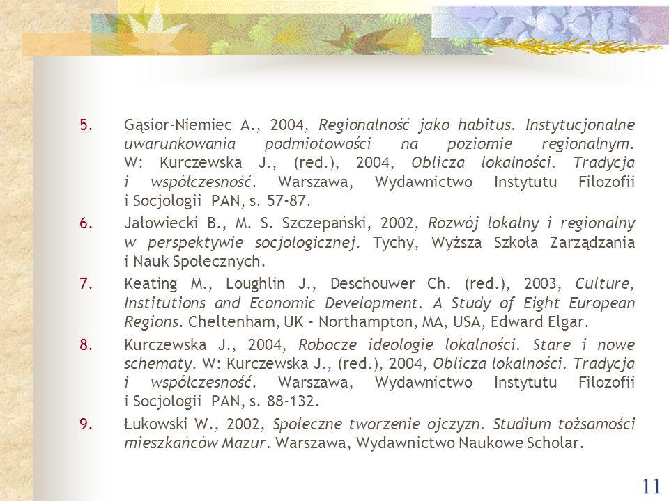 11 5.Gąsior-Niemiec A., 2004, Regionalność jako habitus.