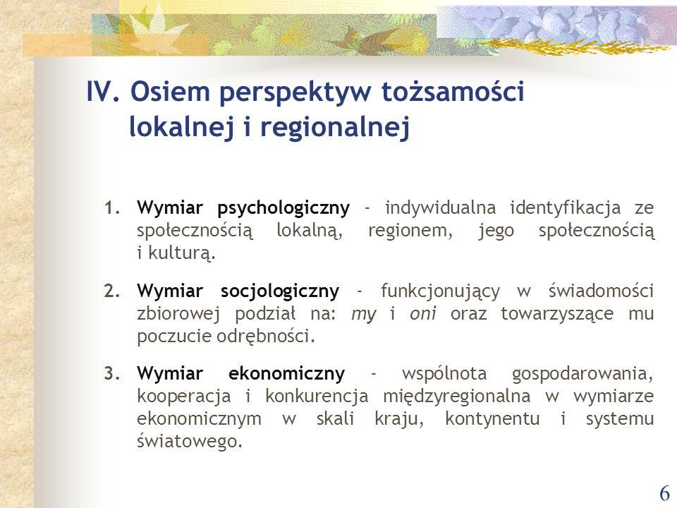 6 1.Wymiar psychologiczny - indywidualna identyfikacja ze społecznością lokalną, regionem, jego społecznością i kulturą.