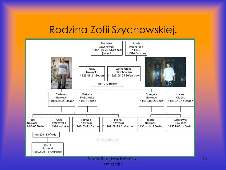 Strony Zdzisława Bolesława Owczarka 10 Rodzina Zofii Szychowskiej. Sch.główny