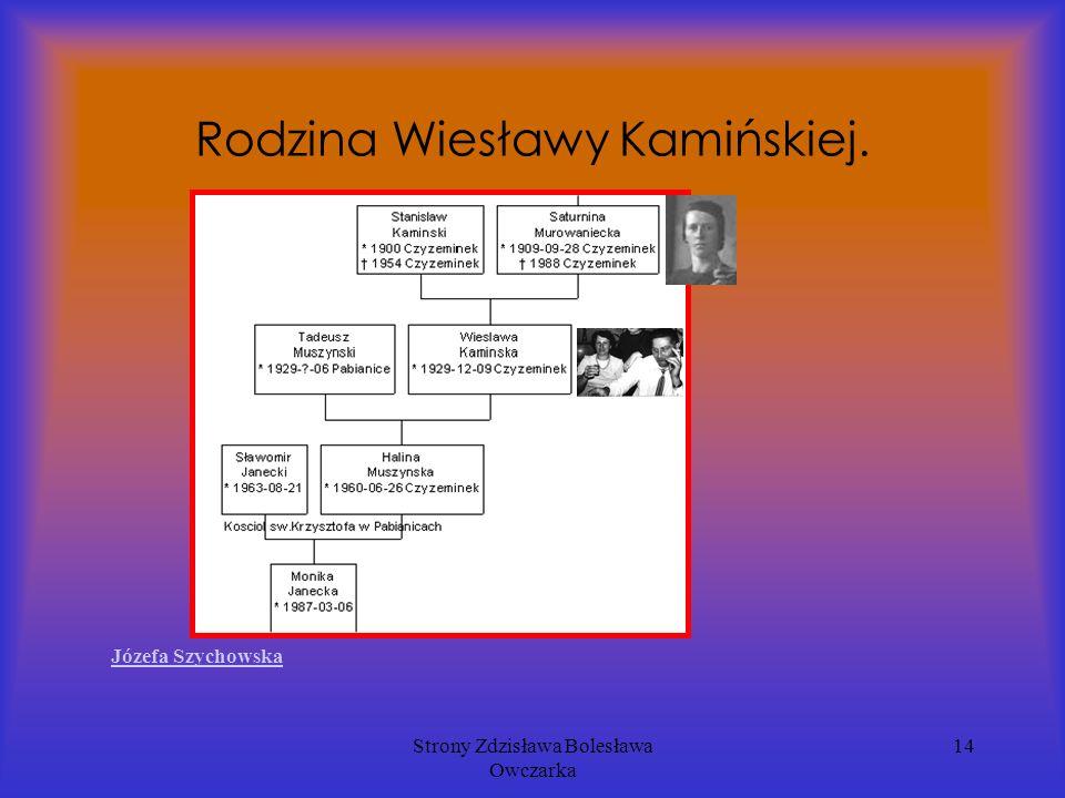 Strony Zdzisława Bolesława Owczarka 14 Rodzina Wiesławy Kamińskiej. Józefa Szychowska
