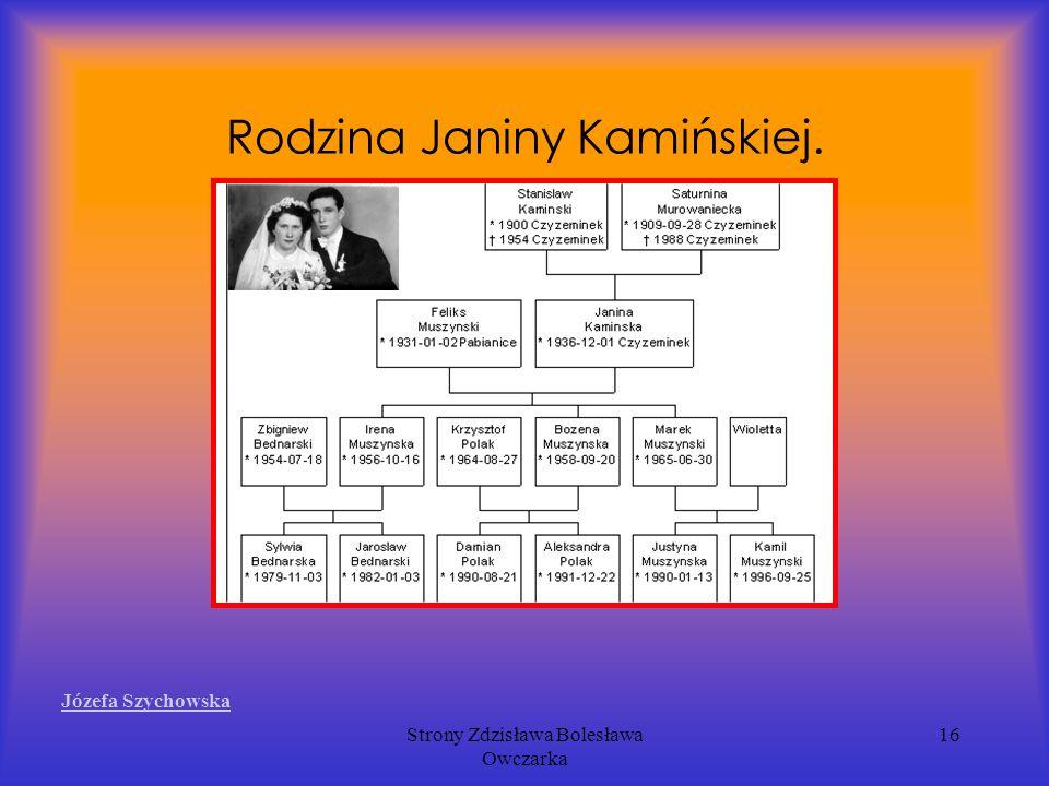 Strony Zdzisława Bolesława Owczarka 16 Rodzina Janiny Kamińskiej. Józefa Szychowska