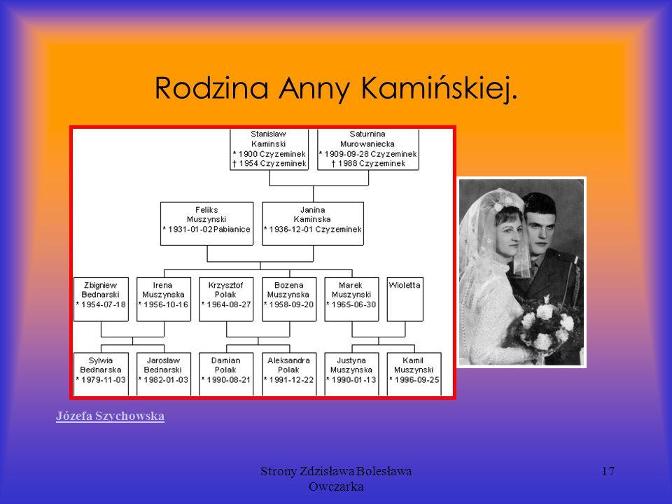 Strony Zdzisława Bolesława Owczarka 17 Rodzina Anny Kamińskiej. Józefa Szychowska
