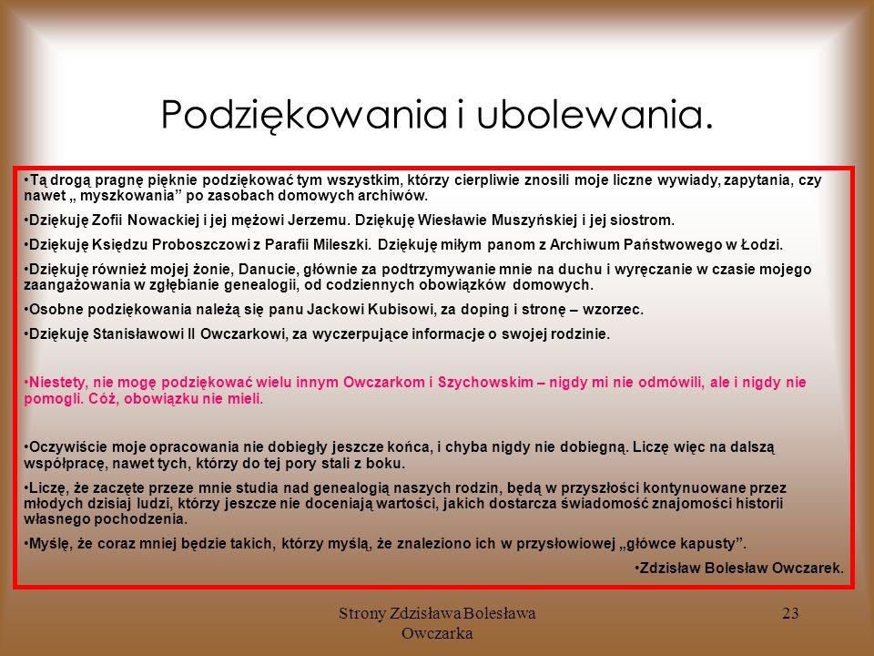 Strony Zdzisława Bolesława Owczarka 23 Podziękowania i ubolewania.