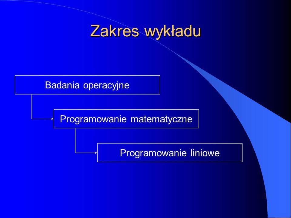 Zakres wykładu Programowanie matematyczne Programowanie liniowe Badania operacyjne