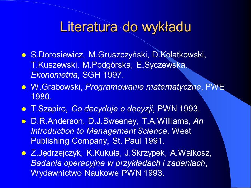 Literatura do wykładu l S.Dorosiewicz, M.Gruszczyński, D.Kołatkowski, T.Kuszewski, M.Podgórska, E.Syczewska, Ekonometria, SGH 1997.