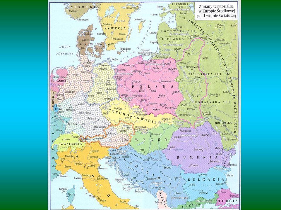 Decyzje dotyczące Niemiec po II wojnie światowej -utrata ziem na wschodzie - na rzecz Polski i ZSRR (część Prus Wschodnich) -przesiedlenie ludności niemieckiej z terenów Polski, Czechosłowacji i Węgier -wypłata państwom koalicji antyfaszystowskiej odszkodowań (np.
