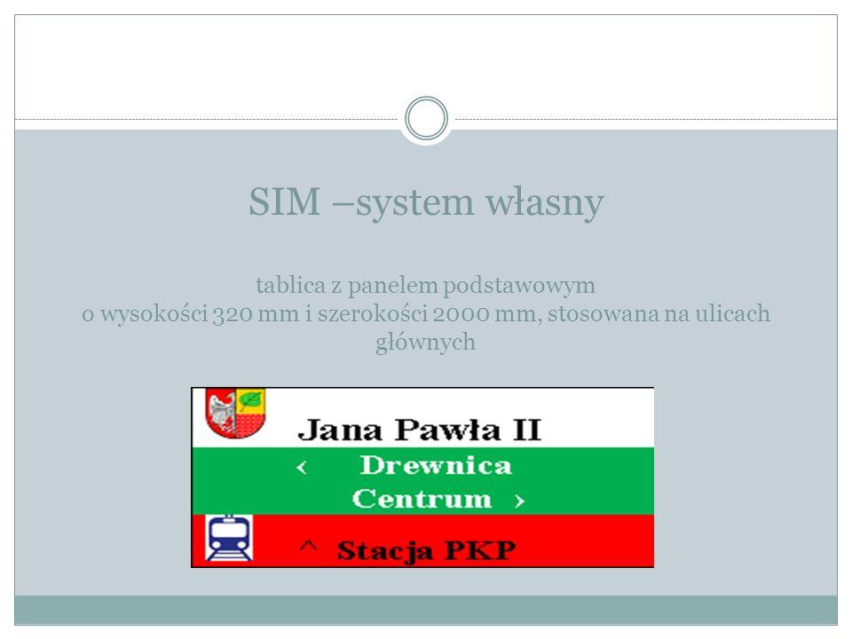 SIM –system własny tablica z panelem podstawowym o wysokości 320 mm i szerokości 2000 mm, stosowana na ulicach głównych