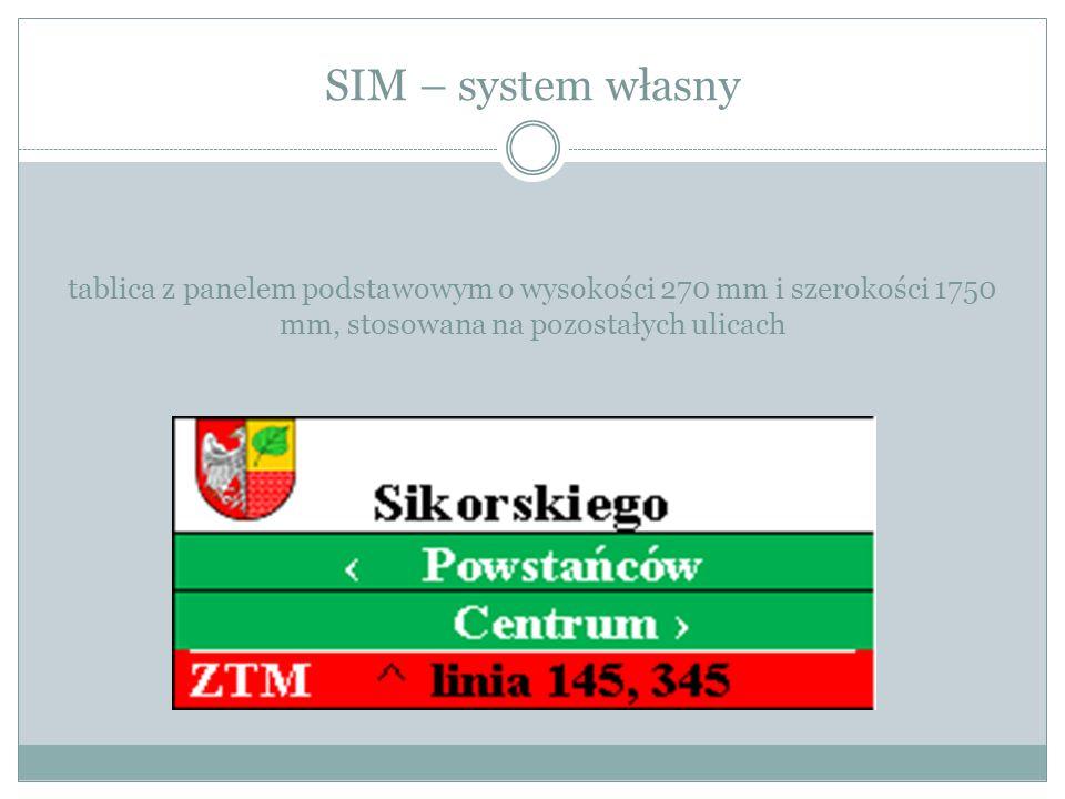 SIM – system własny tablica z panelem podstawowym o wysokości 270 mm i szerokości 1750 mm, stosowana na pozostałych ulicach