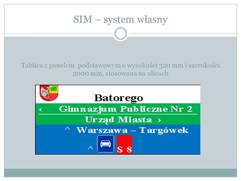 SIM – system własny Tablica z panelem podstawowym o wysokości 320 mm i szerokości 2000 mm, stosowana na ulicach