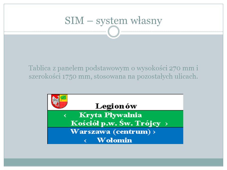 SIM – system własny Tablica z panelem podstawowym o wysokości 270 mm i szerokości 1750 mm, stosowana na pozostałych ulicach.