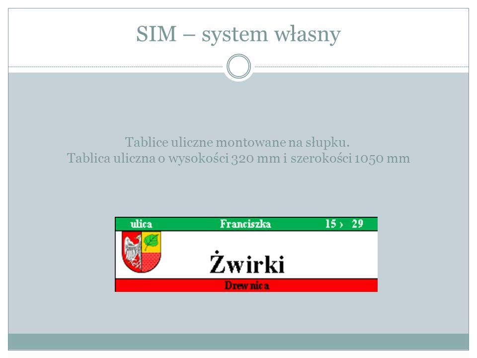 SIM – system własny Tablice uliczne montowane na słupku.