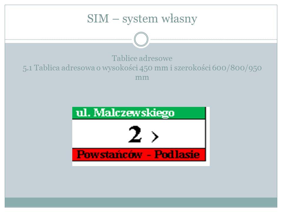 SIM – system własny Tablice adresowe 5.1 Tablica adresowa o wysokości 450 mm i szerokości 600/800/950 mm