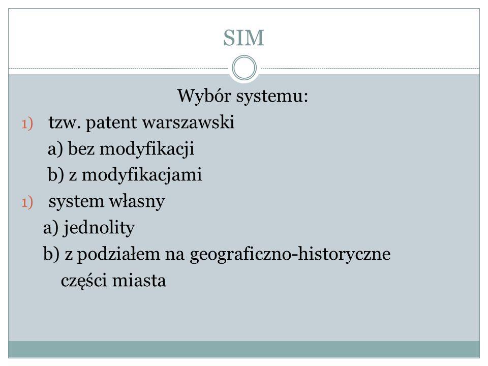 SIM Wybór systemu: 1) tzw.