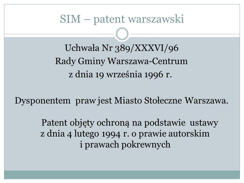 SIM – patent warszawski Uchwała Nr 389/XXXVI/96 Rady Gminy Warszawa-Centrum z dnia 19 września 1996 r.