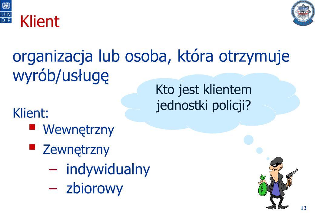 13 Klient organizacja lub osoba, która otrzymuje wyrób/usługę Klient:  Wewnętrzny  Zewnętrzny –indywidualny –zbiorowy Kto jest klientem jednostki policji?