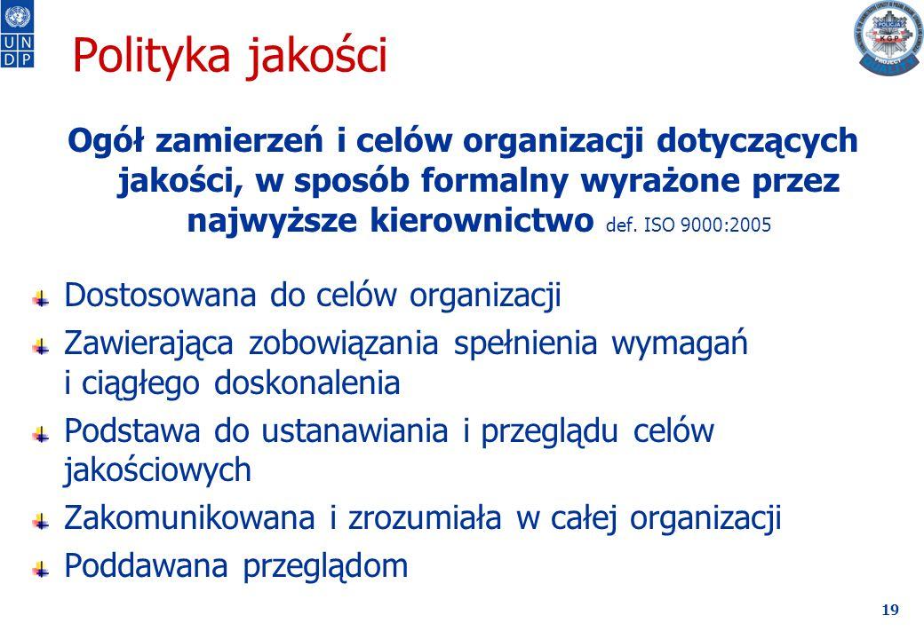 19 Polityka jakości Ogół zamierzeń i celów organizacji dotyczących jakości, w sposób formalny wyrażone przez najwyższe kierownictwo def.