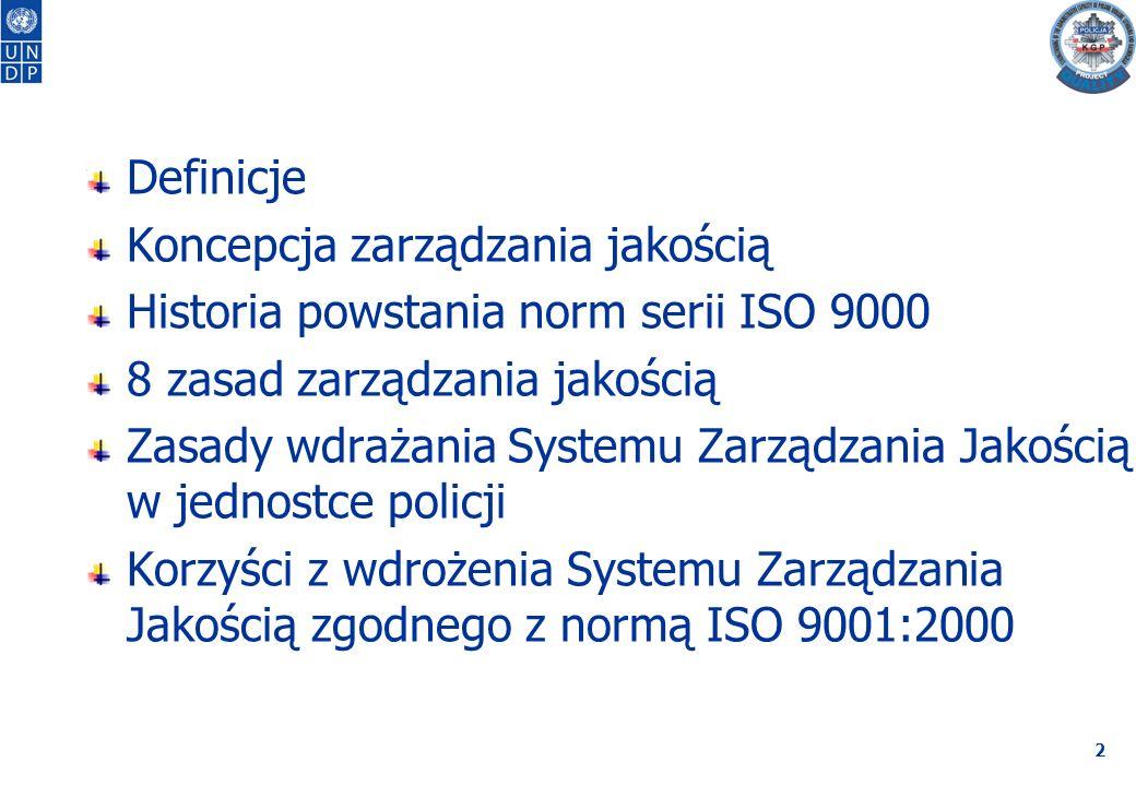 """3 """"System zarządzania jakością – to system zarządzania do kierowania organizacją i jej nadzorowania w odniesieniu do jakości (definicja z ISO 9000:2005) ISO (International Organisation for Standarization) Międzynarodowa Organizacja Normalizacyjna z siedzibą w Brnie (Szwajcaria) działająca od 1945r."""