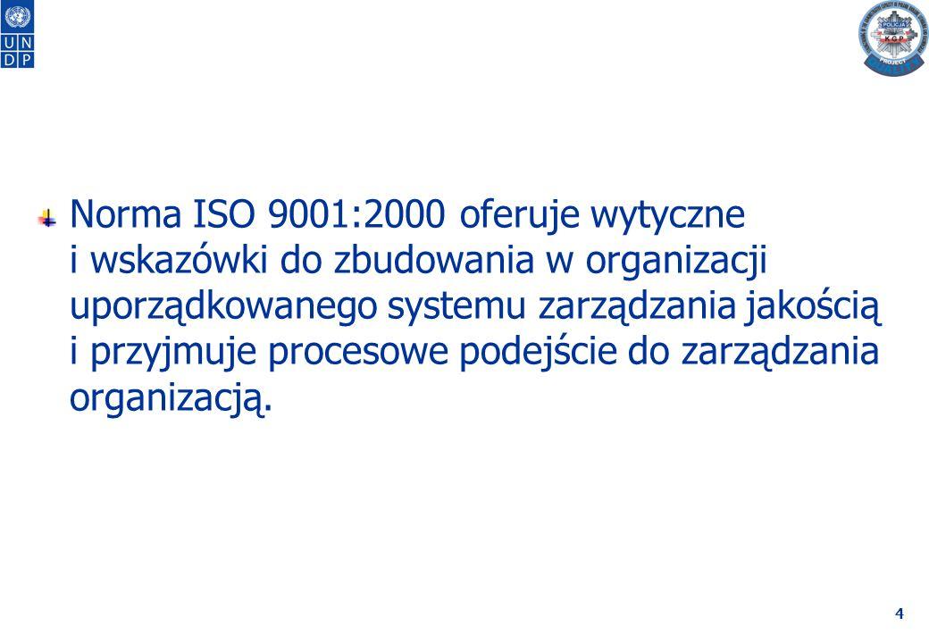 4 Norma ISO 9001:2000 oferuje wytyczne i wskazówki do zbudowania w organizacji uporządkowanego systemu zarządzania jakością i przyjmuje procesowe podejście do zarządzania organizacją.