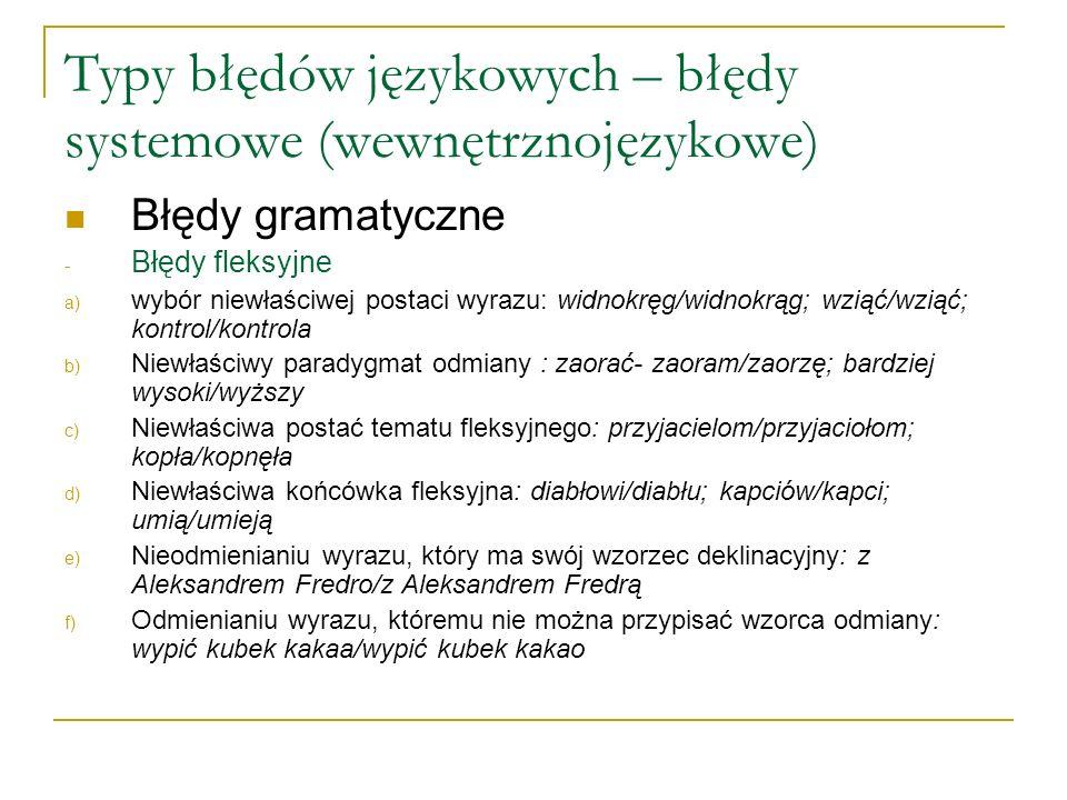 Typy błędów językowych – błędy systemowe (wewnętrznojęzykowe) Błędy gramatyczne - Błędy fleksyjne a) wybór niewłaściwej postaci wyrazu: widnokręg/widnokrąg; wziąć/wziąć; kontrol/kontrola b) Niewłaściwy paradygmat odmiany : zaorać- zaoram/zaorzę; bardziej wysoki/wyższy c) Niewłaściwa postać tematu fleksyjnego: przyjacielom/przyjaciołom; kopła/kopnęła d) Niewłaściwa końcówka fleksyjna: diabłowi/diabłu; kapciów/kapci; umią/umieją e) Nieodmienianiu wyrazu, który ma swój wzorzec deklinacyjny: z Aleksandrem Fredro/z Aleksandrem Fredrą f) Odmienianiu wyrazu, któremu nie można przypisać wzorca odmiany: wypić kubek kakaa/wypić kubek kakao