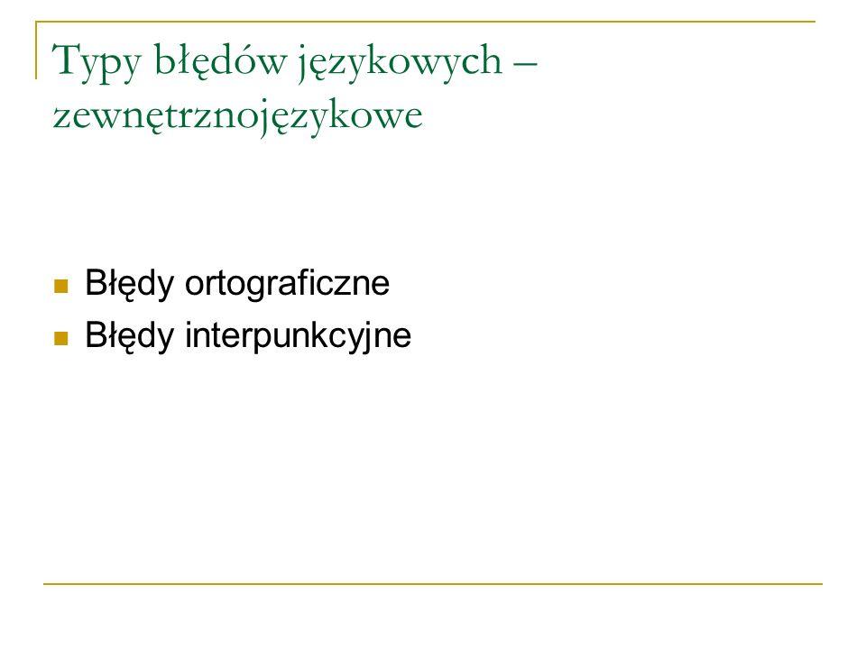 Typy błędów językowych – zewnętrznojęzykowe Błędy ortograficzne Błędy interpunkcyjne