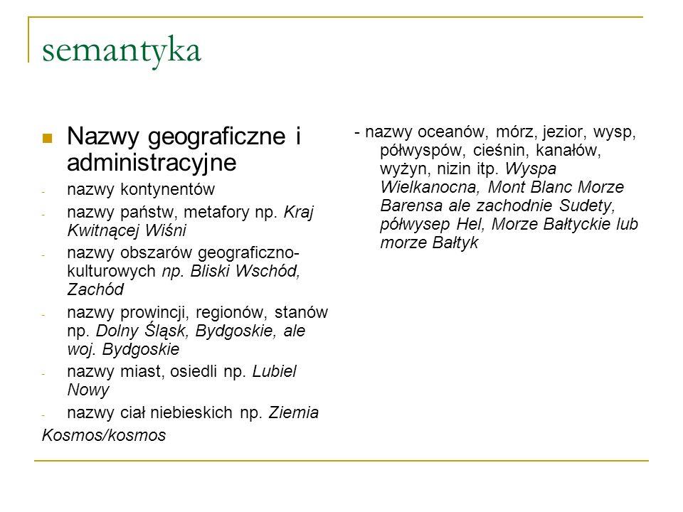 semantyka Nazwy geograficzne i administracyjne - nazwy kontynentów - nazwy państw, metafory np.