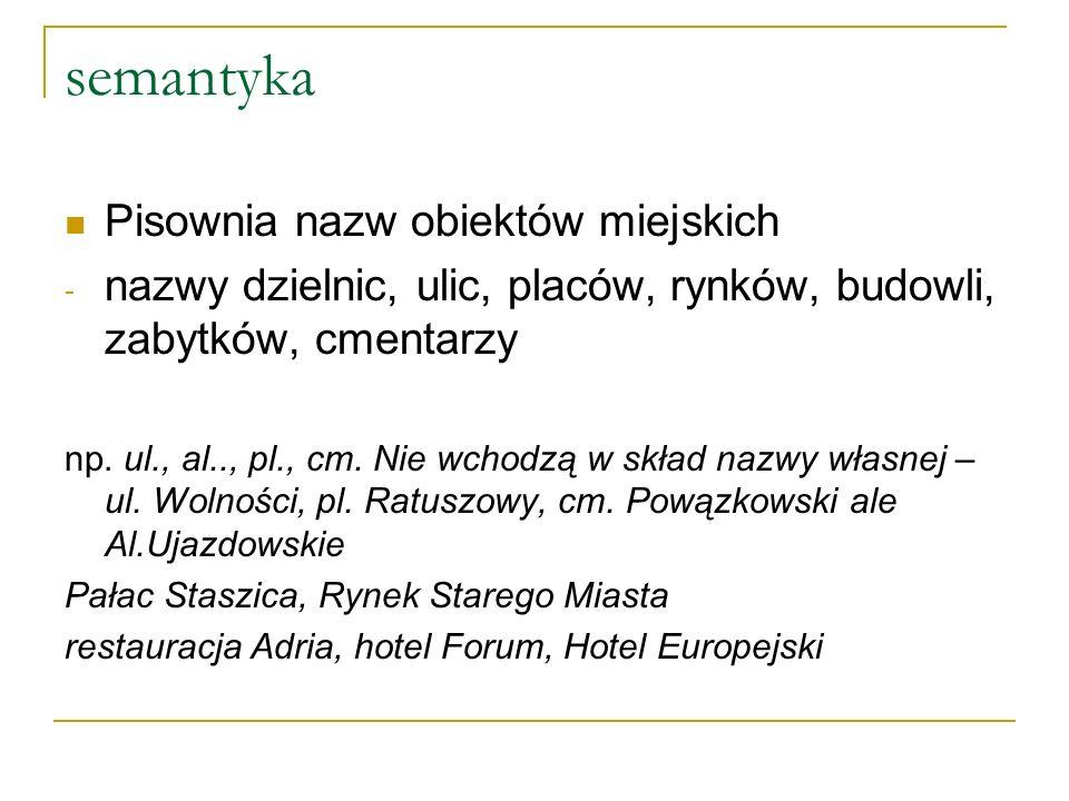 semantyka Pisownia nazw obiektów miejskich - nazwy dzielnic, ulic, placów, rynków, budowli, zabytków, cmentarzy np.