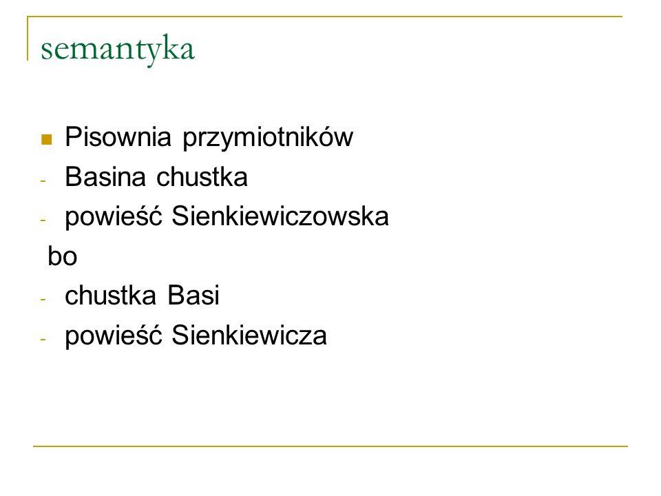 semantyka Pisownia przymiotników - Basina chustka - powieść Sienkiewiczowska bo - chustka Basi - powieść Sienkiewicza